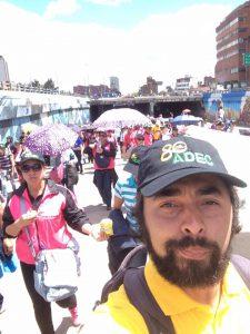 Julio Escobar participando de las movilizaciones durante el paro
