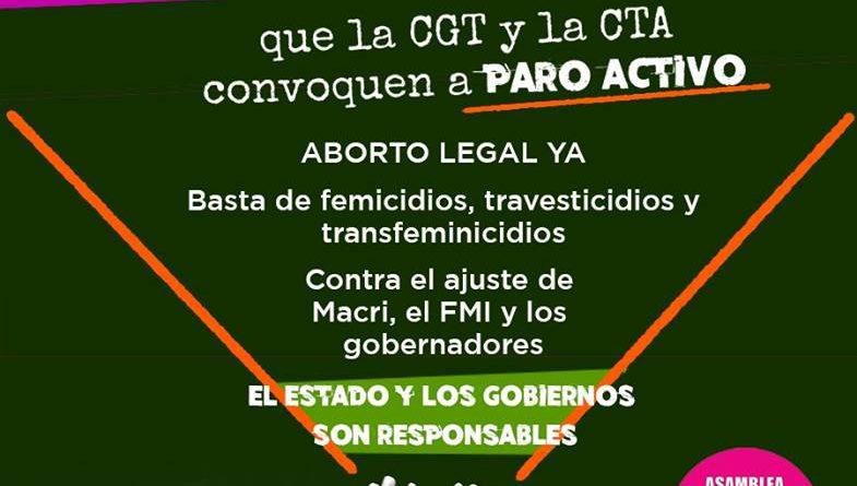 8M: la Asamblea Ni Una Menos exige paro activo y efectivo a las Centrales